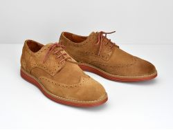 Prism Brogue - Suede - Cognac Sole Brique