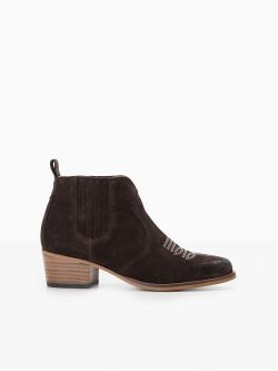 Polly Boots - Cowsuede - Dark Brown