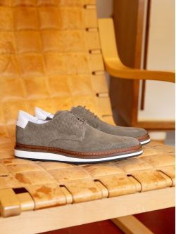 PUNCH DERBY - P.SUEDE/NAPPA - ELEPHANT/WHITE