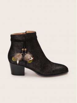 STORY BOOTS - SUEDE METALLIC - BLACK