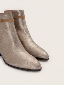 STORY BOOTS - SUEDE METALLIC - PLATINE
