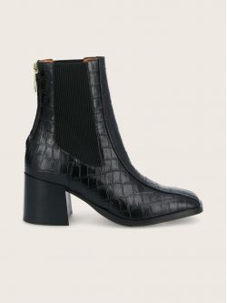 RITA BACK ZIP - PRINT CROCO - BLACK