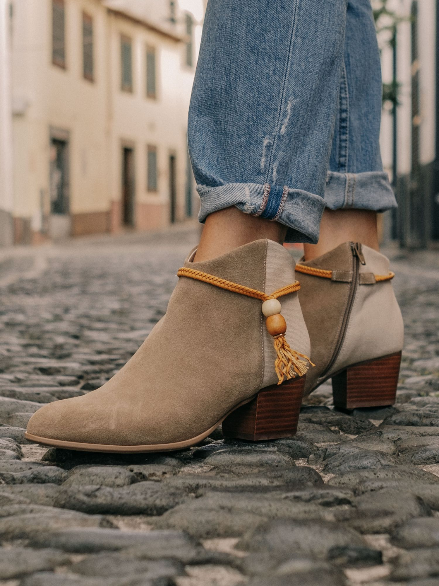 schmoove.fr STORY PEARL - COWSUEDE/CANVAS - BEIGE