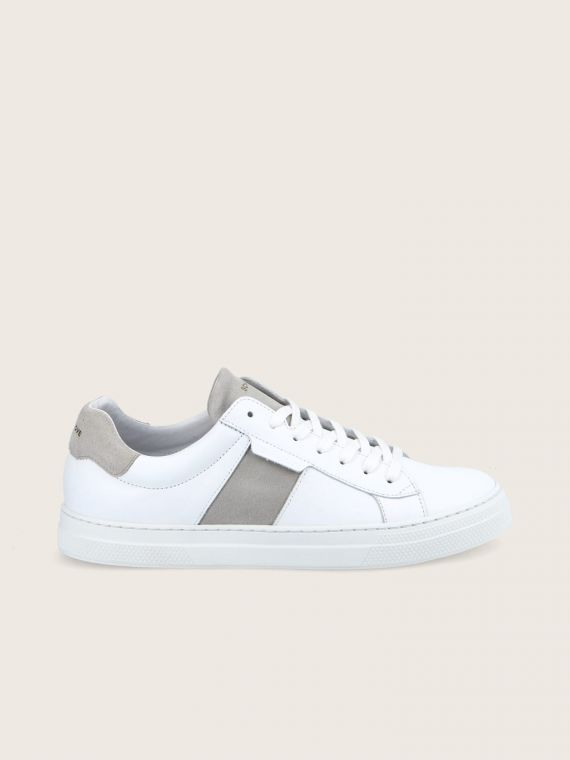 SPARK GANG - NAPPA/SUEDE - WHITE/GREGE