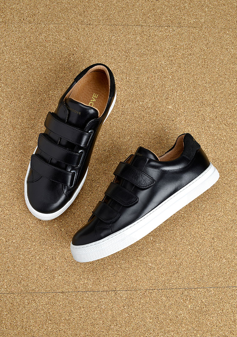 sneakers homme en cuir noir avec scratch